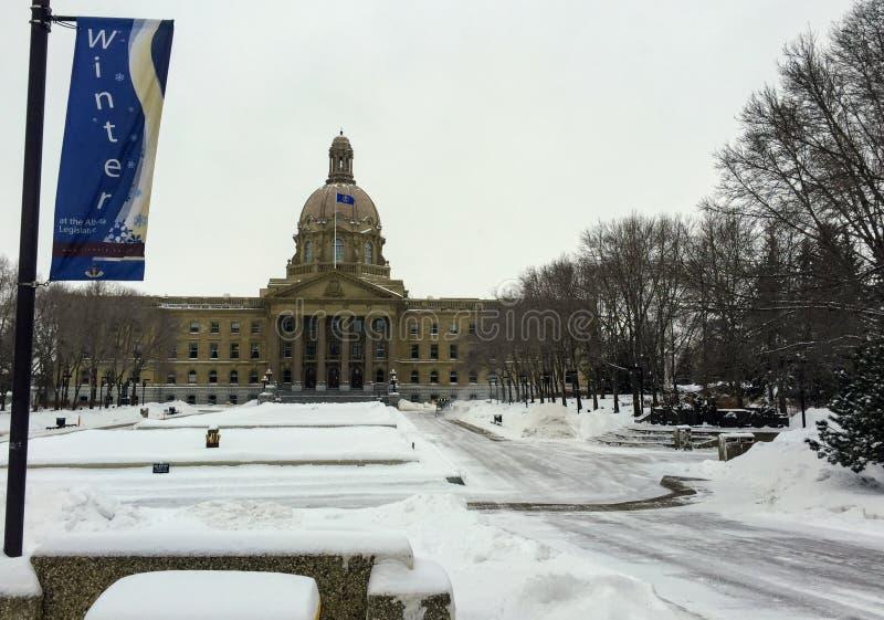 Winter ist in der Hauptstadt von Alberta angekommen lizenzfreie stockbilder