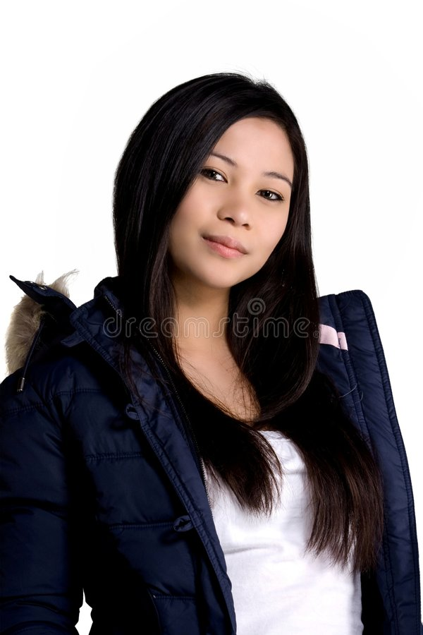 Winter Jacket. A model wearing a winter jacket royalty free stock images
