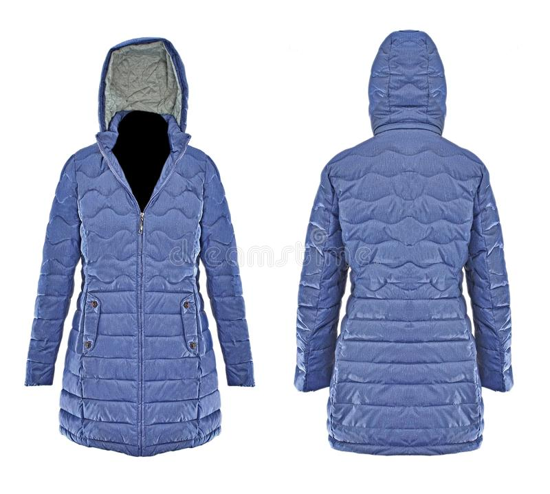 Winter jacket. Blue Winter jacket isolated on white background with ghost mannequin royalty free stock photos