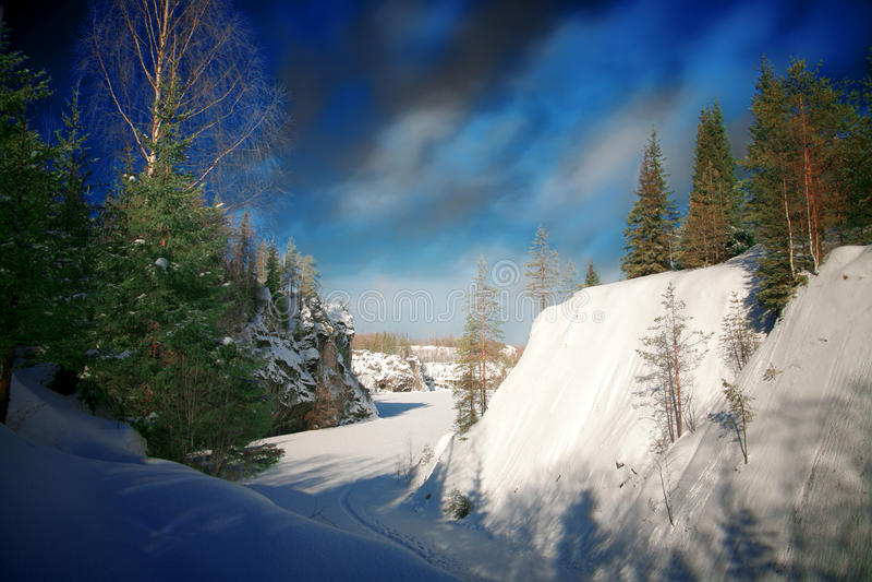 Winter-Jahreszeit auf Marmor Mt stockfotografie