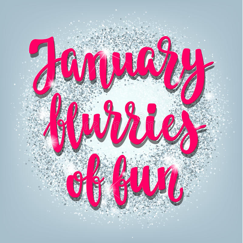 Winter-Januar-Handbeschriftungskarte stock abbildung