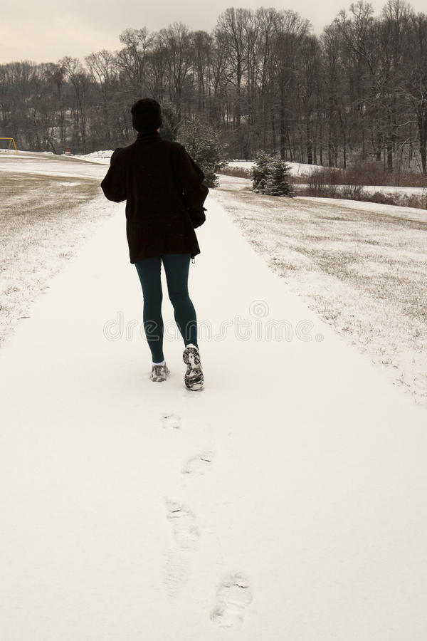 Download Winter Jogger rear view stock photo. Image of healthy - 17741266
