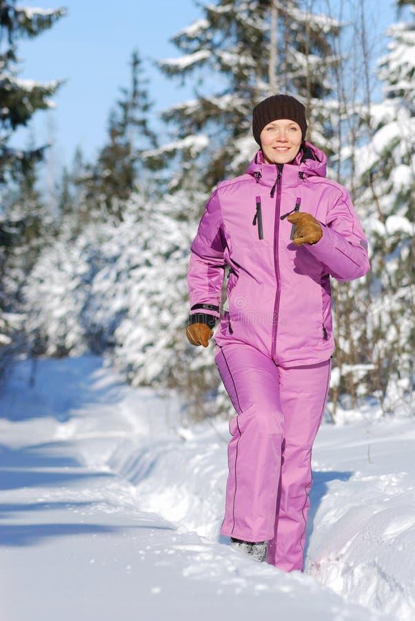 Winter jogging royalty free stock photo