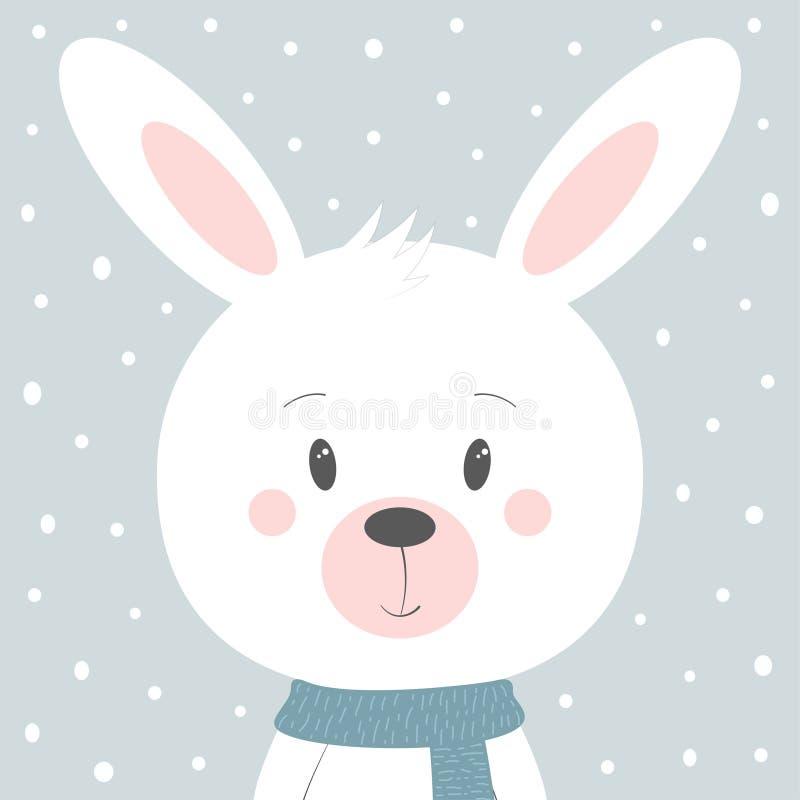 Winter-Karte mit Kaninchen lizenzfreie abbildung
