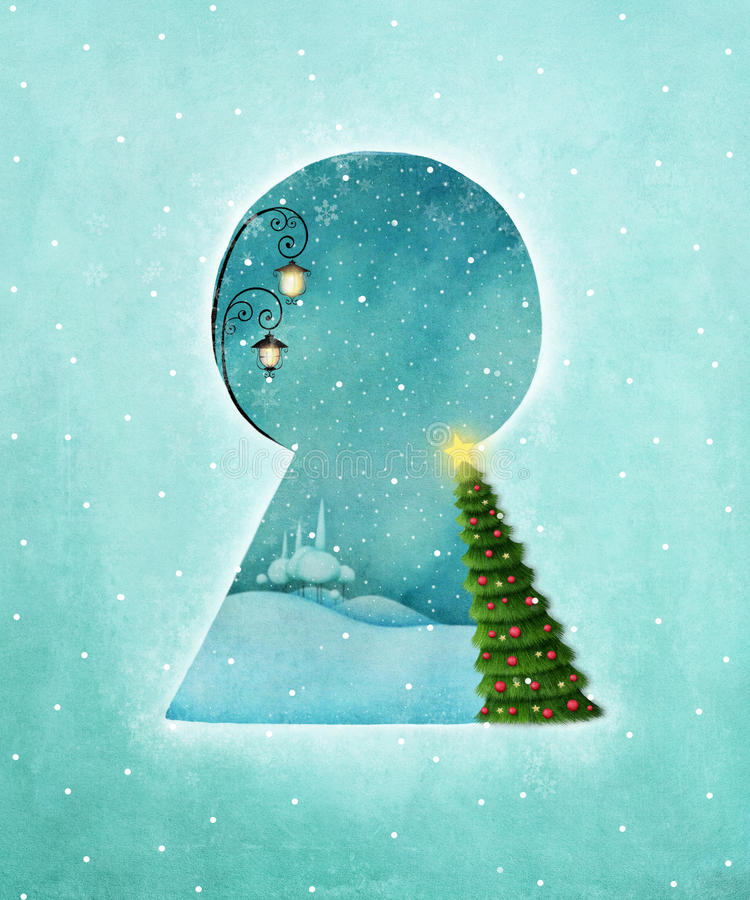 Winter keyhole stock illustration