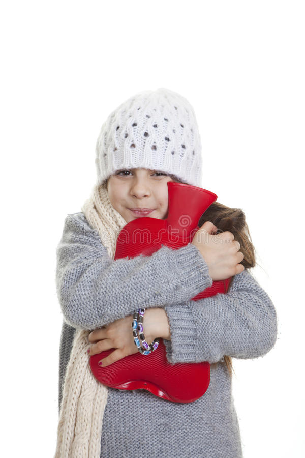 Download Winter Kid With Hot Water Bottle Stock Photo - Image: 33223706