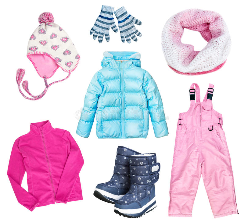 Winter kid's child's clothes set collage isolated. royalty free stock photos