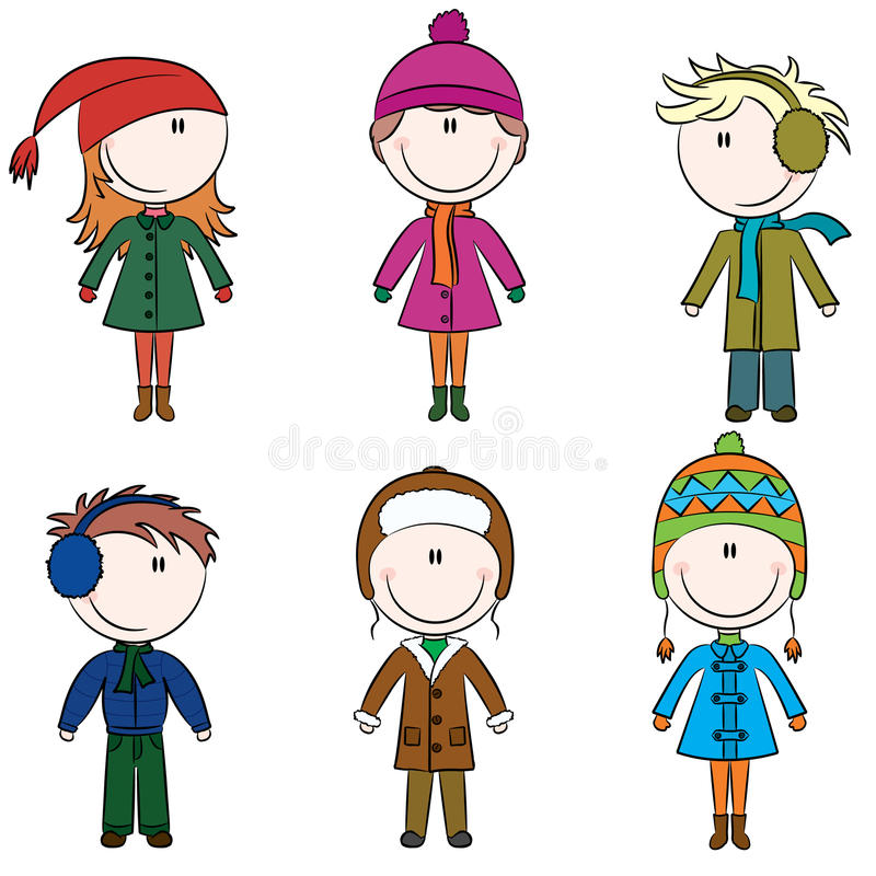 Winter kids. Cute cheerful kids in winter clothes