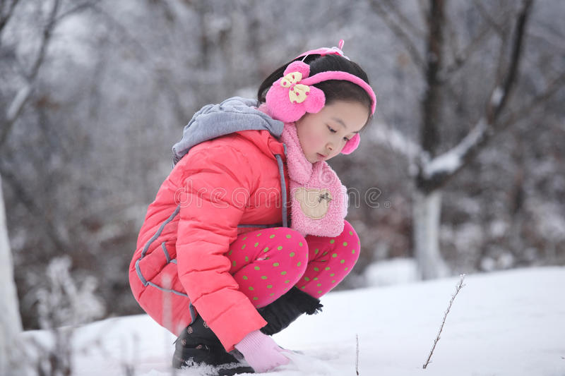 Winter with kids stock photo
