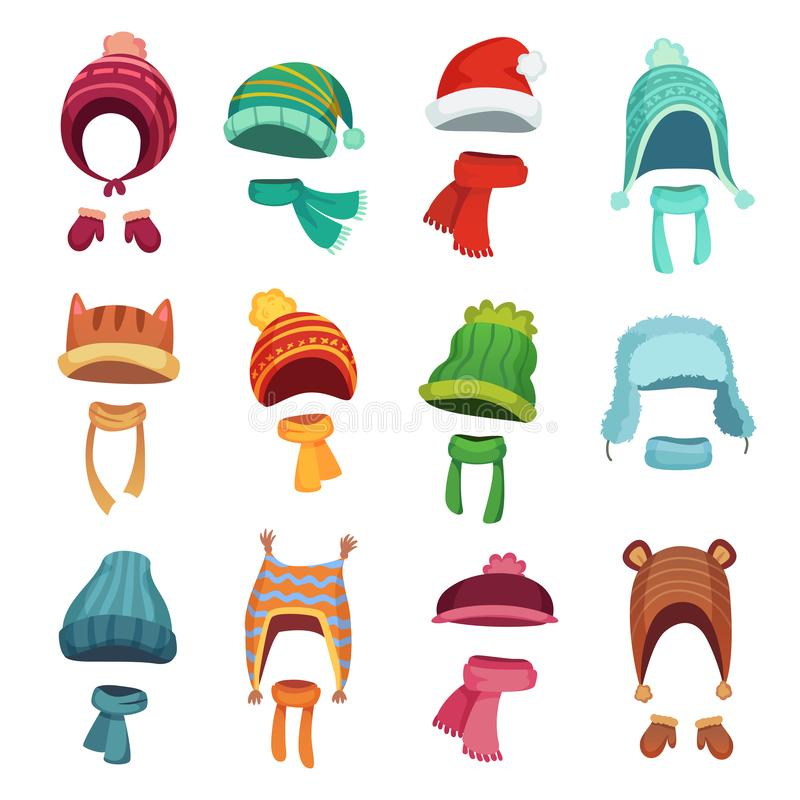Winter kids hat. Warm childrens hats and scarves. Headwear and accessories for boys and girls cartoon vector set. Winter kids hat. Warm childrens hats and vector illustration