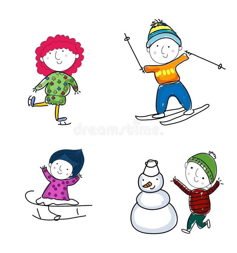 Winter kids royalty free illustration