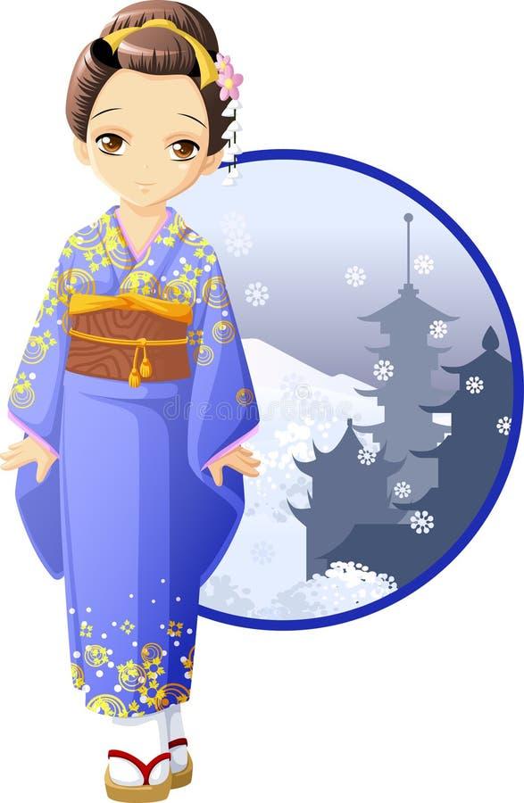 Winter kimono girl vector illustration