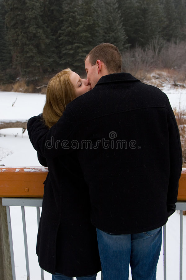 Download Winter Kiss stock photo. Image of girl, engagement, women - 452016