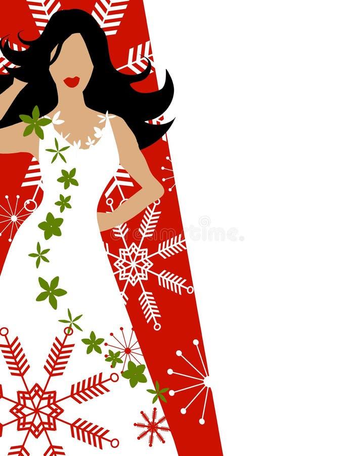 Winter-Kleid-Art- und Weisebaumuster-Rot lizenzfreie abbildung