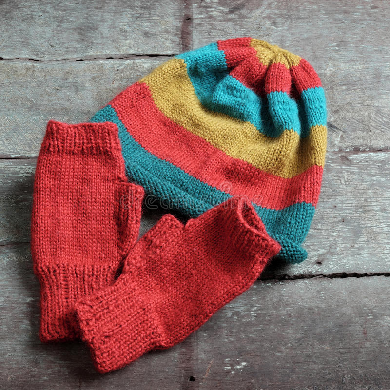 Winter, knitted gloves, knit hat stock image