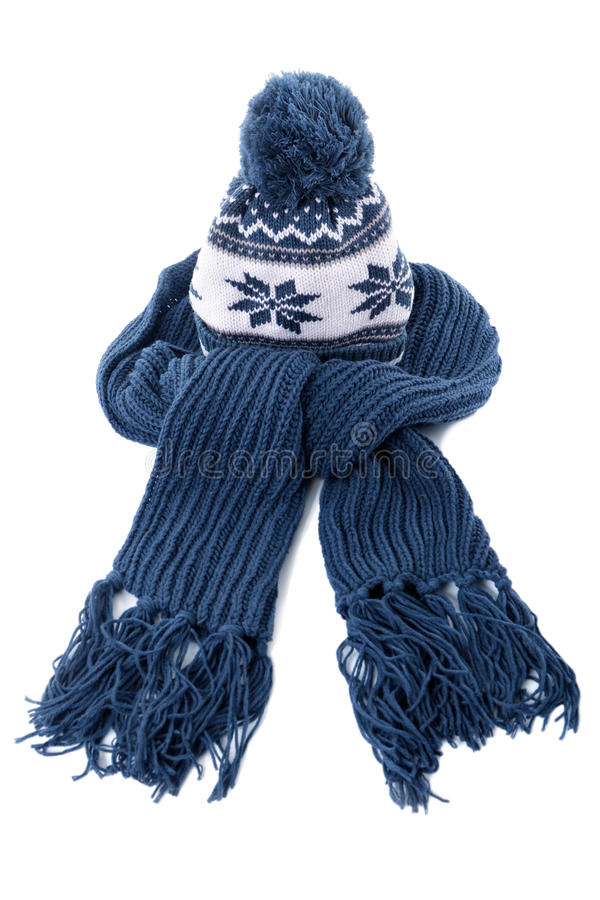 Winter knitted hat and scarf, blue, isolated on white background stock images