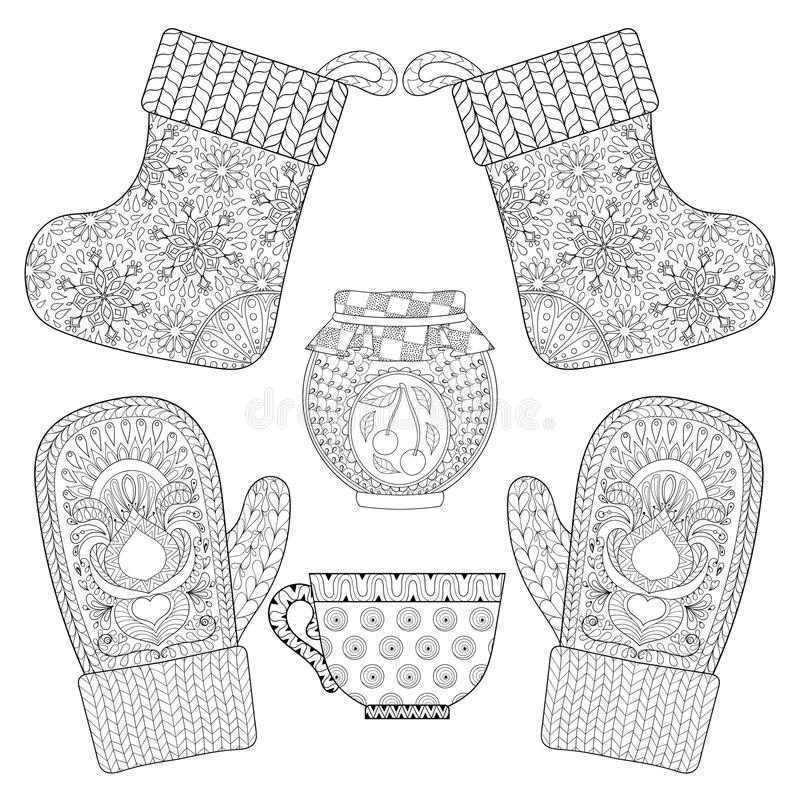 Winter Knitted Cap Mittens In Zentangle, Tribal Monochrome ...