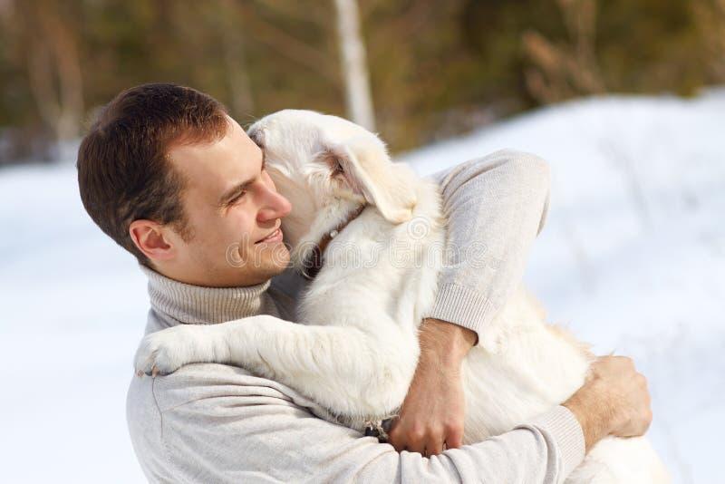 Winter Labrador retriever with owner stock photo