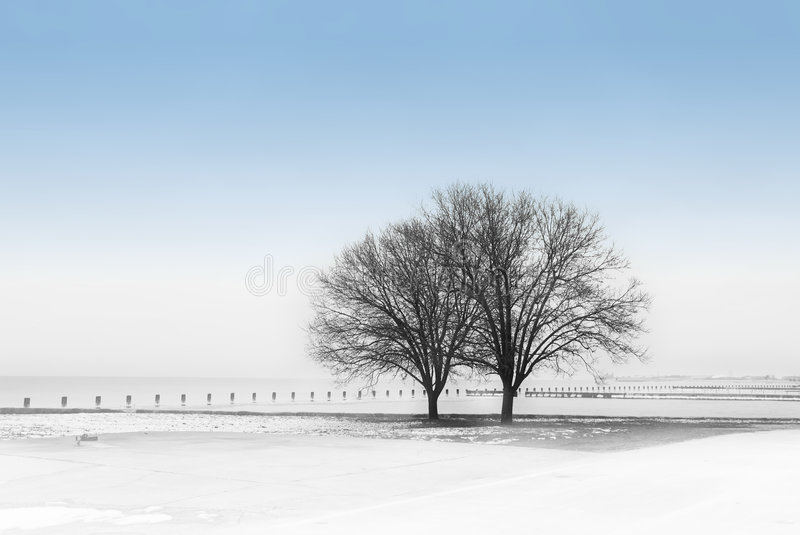 Winter by the Lake stock photos