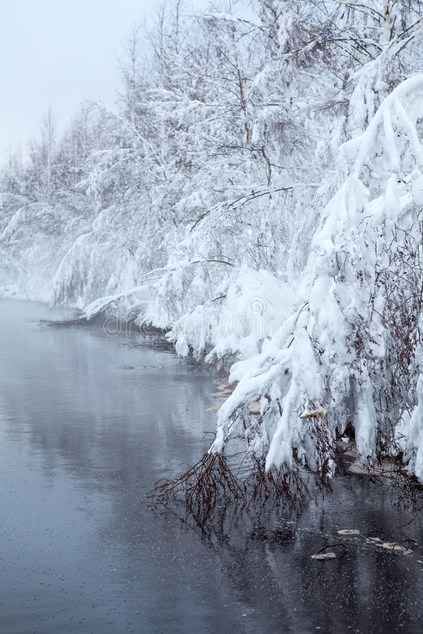Download Winter Lake With Fog Over The Water Stock Photo - Image: 35280780