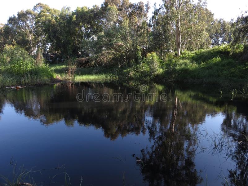Winter lake Holon, Israel stock image
