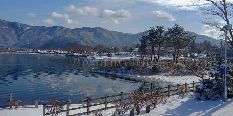 Winter at Lake Kawaguchiko. In the Mount Fuji region stock photos