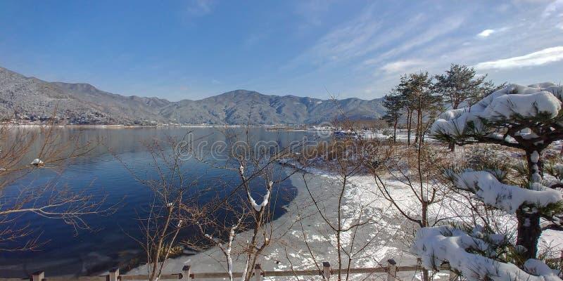 Winter at Lake Kawaguchiko. In the Mount Fuji region royalty free stock image