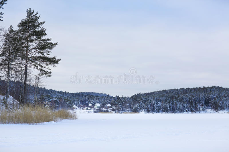 Winter lake Ladoga. Karelia, Russia stock photos