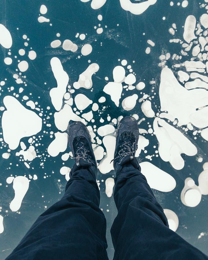 Winter Lake Minnewanka, Abraham, Methane bubbles,lifestyle, Travel Alberta, Canadian Rockies,Banff National Park,Icefiled Parkways. Frozen canadian lakes can royalty free stock photos