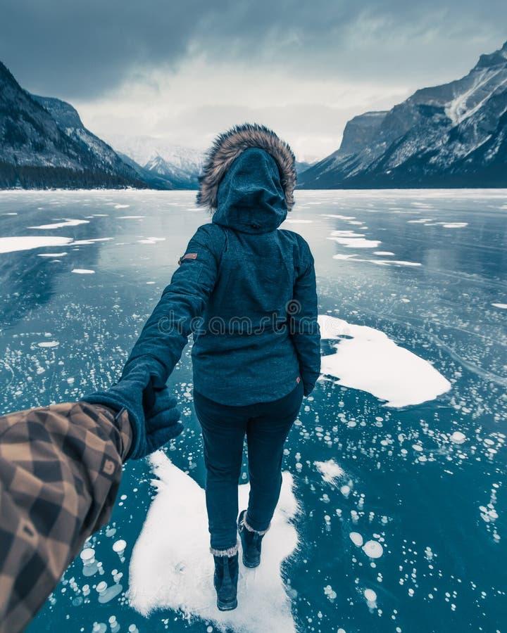 Winter Lake Minnewanka, Abraham, Methane bubbles,lifestyle, Travel Alberta, Canadian Rockies,Banff National Park,Icefiled Parkways. Frozen canadian lakes can royalty free stock photography