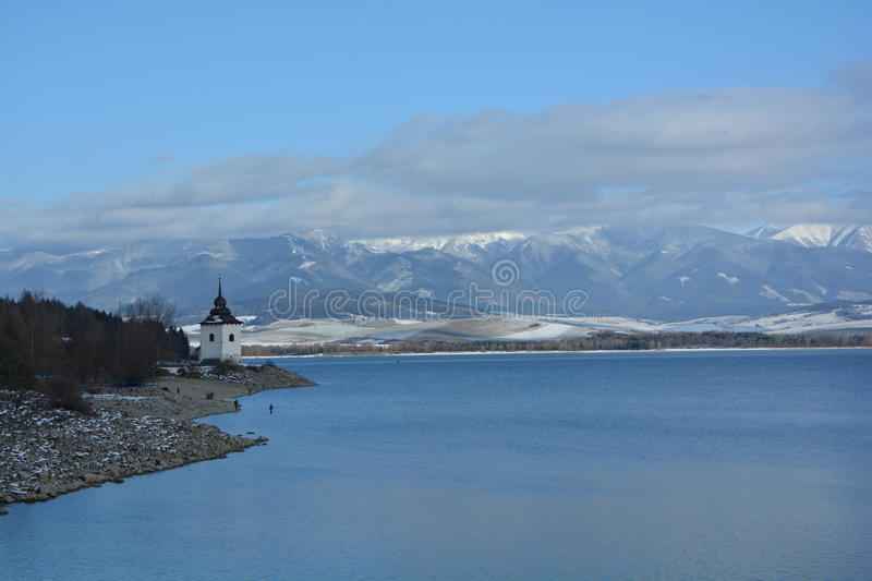 Winter lake and mountians stock photo