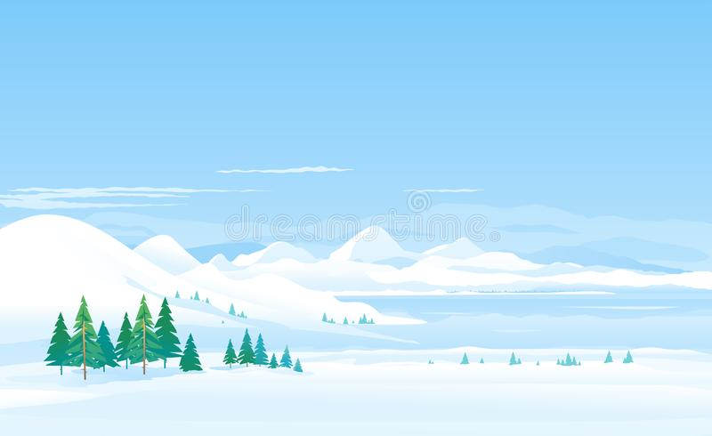 Winter lake in moutains landscape panorama royalty free illustration