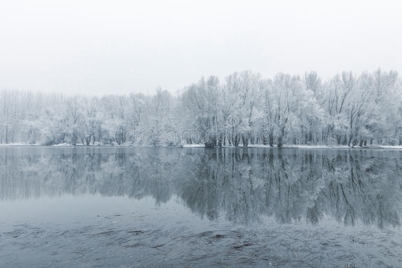 Winter lake scene reflecting in the water. Nature Background royalty free stock photography
