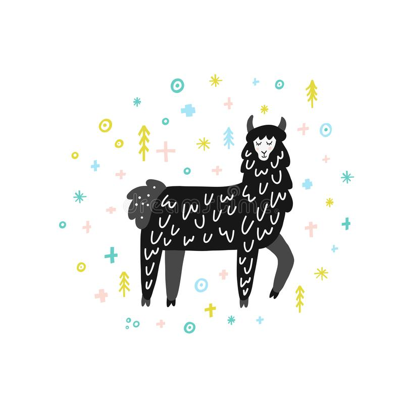 Winter Lama Illustration vector illustration