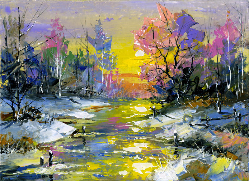 Winter landscape. The winter landscape executed by oil on a canvas royalty free illustration