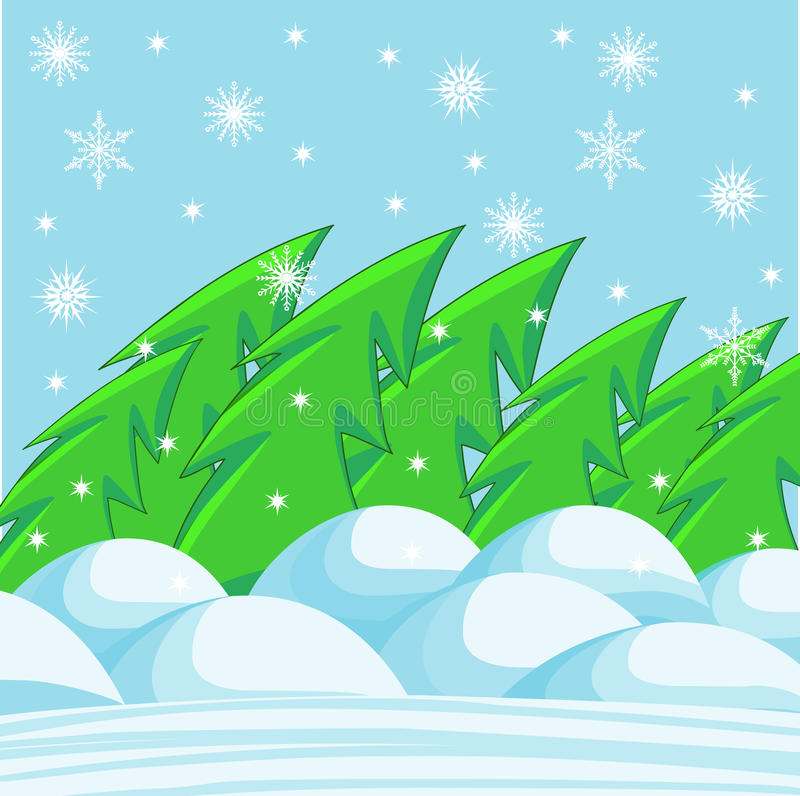 Download Winter landscape stock vector. Image of snowflakes, tree - 21578838