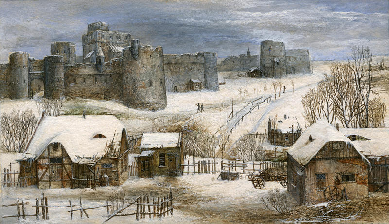 Download Winter landscape stock illustration. Image of dwelling - 22003684