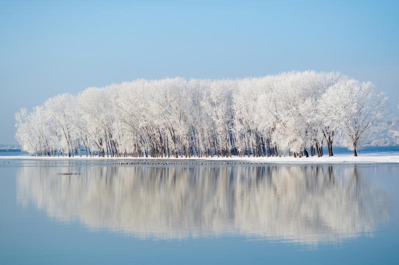 Winter landscape. With clear blue sky stock photo