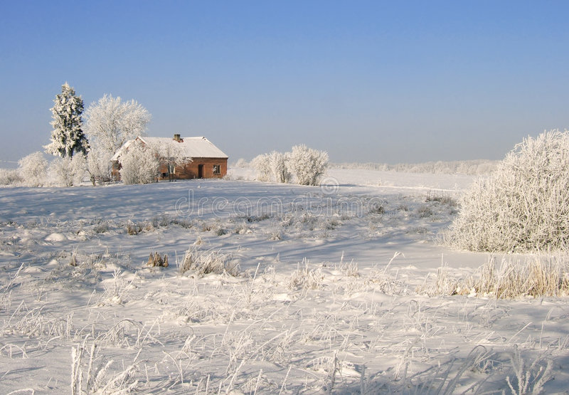 Download Winter landscape stock image. Image of farm, country, forest - 504715