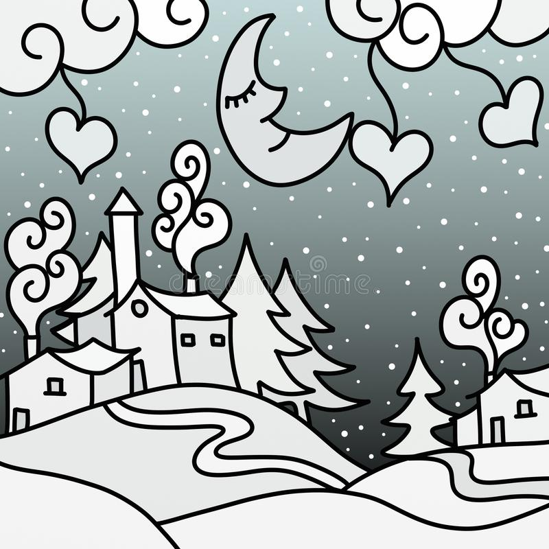 Download Winter landscape abstract stock illustration. Illustration of illustration - 27476417