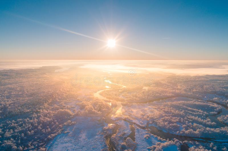 Winter landscape aerial drone view royalty free stock photo