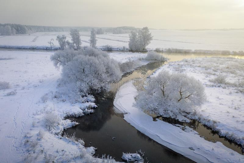 Winter landscape aerial view. Beautiful winter scene. Frosty nature from above stock images