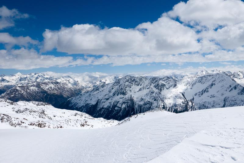 Winter landscape of Alpine mountain range stock photo