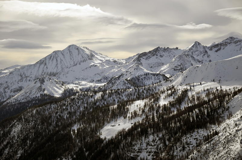 Winter Landscape In The Alps Stock Photos