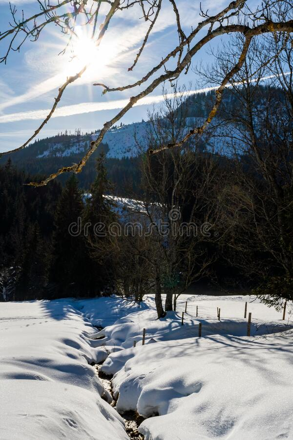 Winter landscape in the austrian alps stock images