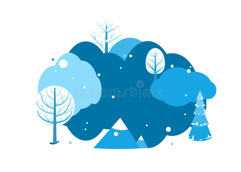 Winter landscape background with copy space. Horizontal cartoon flat land scene with trees, falling snow, spruce fir and. Mountains. Round design concept royalty free illustration