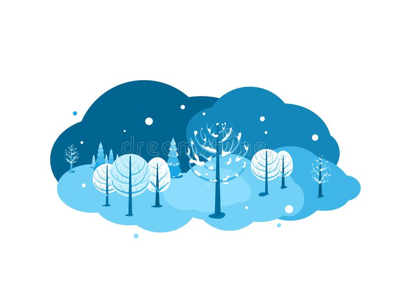 Winter landscape background. Horizontal cartoon flat land scene with dark sky, different trees, falling snow, spruce fir. And clouds. Round design concept royalty free illustration