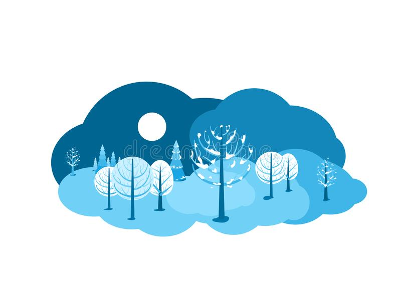 Winter landscape background. Horizontal cartoon flat land scene with dark sky, different trees, snow, spruce fir, clouds. And moon. Round design concept stock illustration