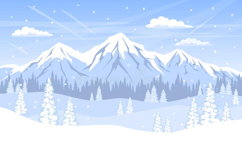 Winter landscape background with pine trees forest mountains and snow stock illustration