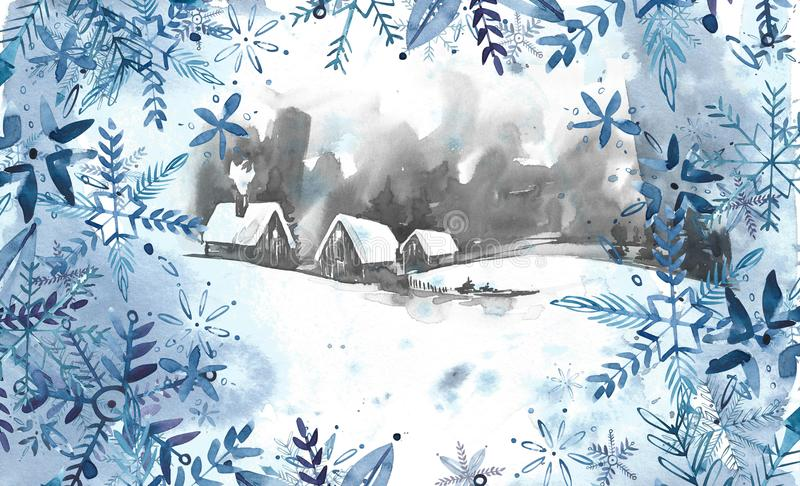 Winter landscape background. Watercolor painting, picture - forest, nature, tree. It can be used as logo, card stock illustration